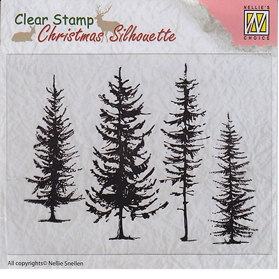 Nellie`s Choice Christmas Silhouette Clear stamps Kiefern CSIL004 96x70mm 102454