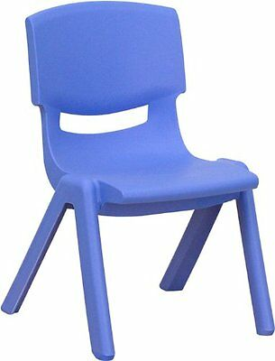 Flash Furniture YU-YCX-003-BLUE-GG Blue Plastic Stackable School Chair with Seat