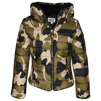 Girls Jacket Kids Padded Camouflage Puffer Bubble Fur Collar Quilted Warm Coats