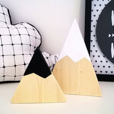 Nordic Top Woodland Wood Mountain Decorative Handmade Kids Bookends Home Decor