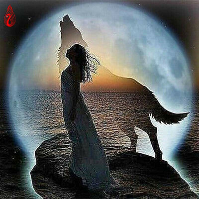 DIY 5D Diamond Embroidery The Girl The Wolf The moon Round Diamond Painting