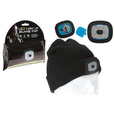 Led Light Head Torch Beanie Hat Cap Cycling Outdoor Hiking Camping Night Wear Uk