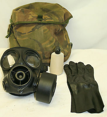 Genuine British Army Issue S10 Respirator Gas Mask W/ DPM Haver + Fullers Earth