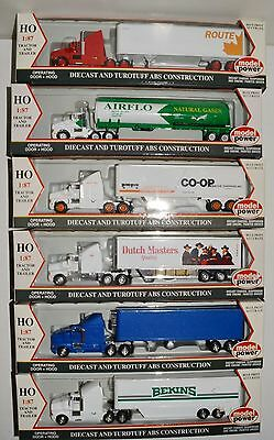 6 new in boxes tractors with trailers, very detailed, various shippers, HO LOT 2