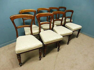Set Of 8 Antique Victorian Balloon Back Dining Chairs