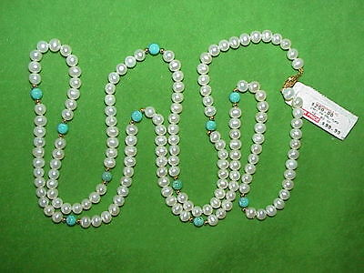 "VTG 14K Pearl Necklace With Turquoise and Yellow Gold Beads 42"" Long-retail $250"