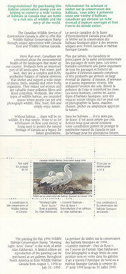 Canada MNH Wildlife Conservation 1994 UNITRADE FWH10  Value $ 35.00