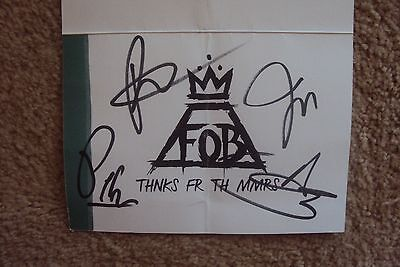 Fall Out Boy SIGNED Note Card THNKS FR TH MMRS  Pete Wentz Patrick Stump  RARE!