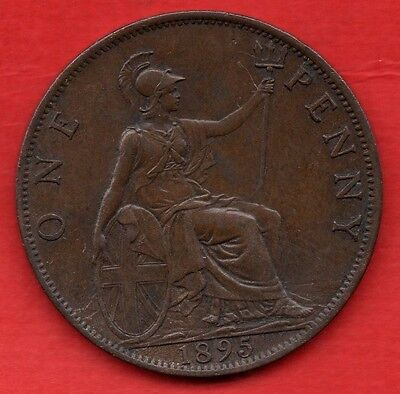 1895 QUEEN VICTORIA VEILED HEAD ONE PENNY COIN. VICTORIAN 1d IN LOVELY CONDITION