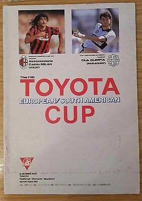1990 Toyota Cup Final Programme - AC Milan v Club Olimpia