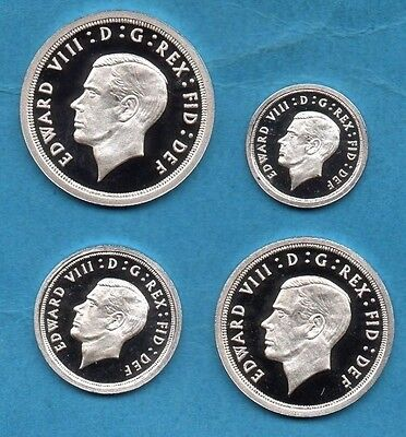 1936 Edward Viii Maundy Coin Set.  Retro Pattern In Sterling Silver.