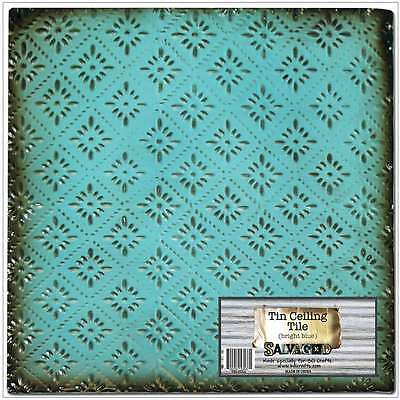 "Salvaged Tin Ceiling Tile 12""X12"" Bright Blue Rosette 700254535371"
