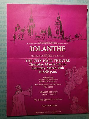 Gilbert & Sullivan Society of Bermuda, 1984 theater poster, Iolanthe