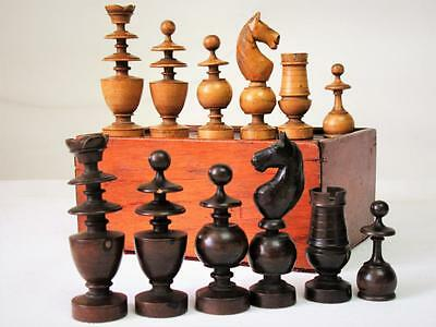 "ANTIQUE MID 19th C. FRENCH  CHESSMEN SET K 3.5"" + BOX NO BOARD"