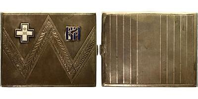 "Russian White Army ""rovs"" In Prague Silver Cigarette Case 1930 Rare!"