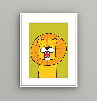 Nursery Kids Childrens Bedroom Safari Animal Lion Wall Art Picture A4 Print
