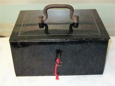 Vintage Metal Cash Box With Removable Compartment Tray & Key/Lock working