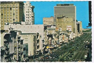 Louisiana Postcard New Orleans Canal Street Separating Old & New