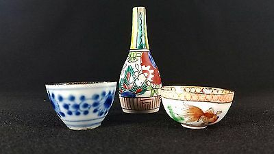 Vintage Antique 3 Chinese / Asian Miniature Porcelain Pieces 2 Cups 1 Vase