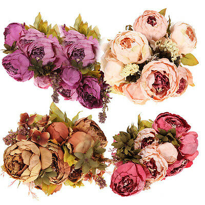 13 Heads Peony Silk Wedding Decoration Flower Bouquet For Bride