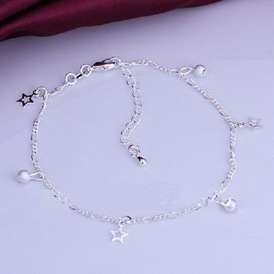 STARS AND BEADS 925 Sterling Silver Anklet 27cm with extention chain