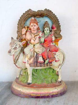Antique Old Hand Made And Painted Terracotta Hindu God Shiv Family Nandi Statue