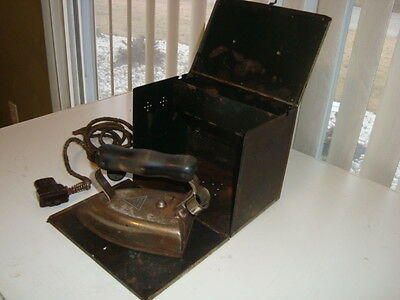 Vintage American Beauty Iron No. 6 1/2 B with Sunbeam Metal Box and Cord Antique