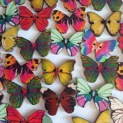 10 X Wooden Butterfly Shapes, Size 21 X 27mm; ~ Crafts Art Embellishments .
