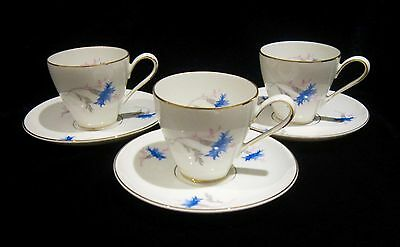 KPM Krister #100 Demitasse Cups & Saucers (3) - Blue Flowers - Germany