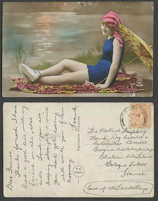 Woman Lady Girl in Swimsuit, Umbrella 1925 Old Real Photo Hand-Coloured Postcard