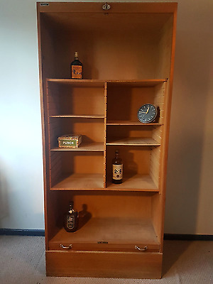 Mid Century West German Tambour Cabinet Roll Front Book Case Shelving Unit
