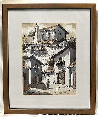 Signed Max Vintage Architectural Watercolor Painting in Vintage Style Wood Frame