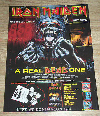 IRON MAIDEN - A REAL DEAD ONE - ORIGINAL VINTAGE advert POSTER 1993