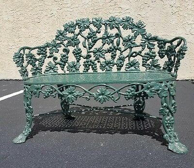 Victorian Cast Iron Bench - Painted Green