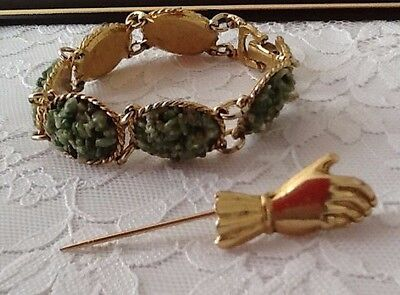 gift idea UK goldtone vintage bracelet and a  hand pin UK seller