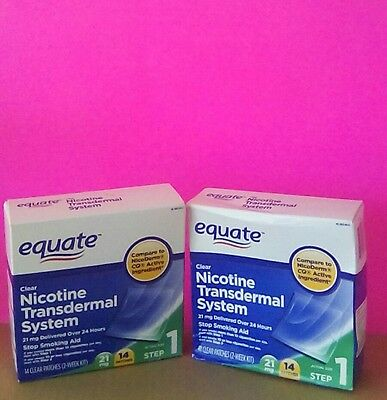 2 Boxes~Equate Step 1, Clear Nicotine Transdermal System Stop Smoking Aid, 21Mg