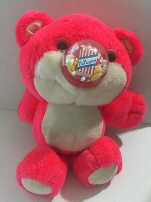 Vintage Playskool Plush Nosy Bears Toy Popcorn Popping Plastic Nose 1987
