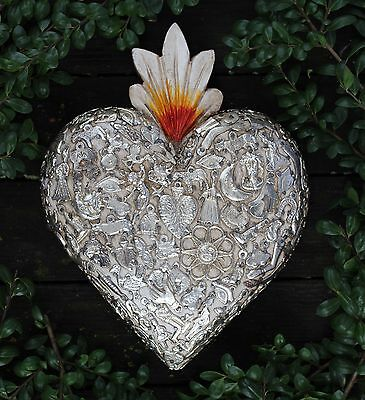 White Valentine Heart Love Token Wood & Milagros Miracle Ex Voto Folk Art Mexico