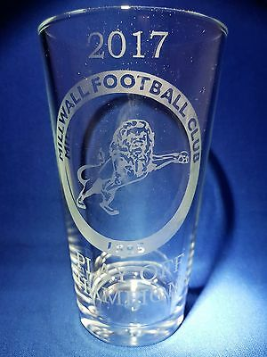 2017 MILLWALL FOOTBALL CLUB PLAY OFF CHAMPIONS Etched Pint Glass