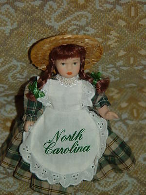 "North Carolina Porcelain Miniatures Doll 6 1/4"" Tall No shoes"