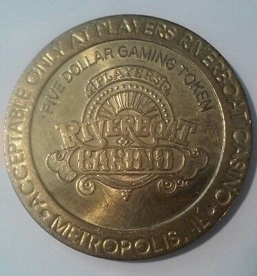 Players Riverboat Casino Metropolis, Il. Hard To Find $5.00 Gaming Token!