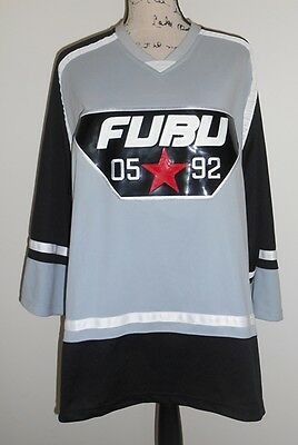 FUBU Black/Grey/White Ice Hockey Jersey BNWT Size M