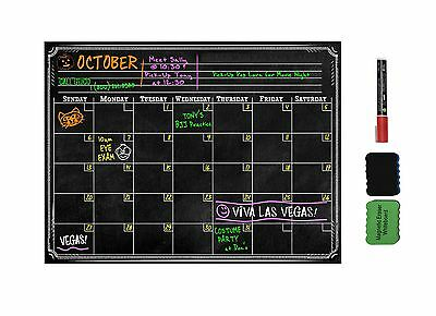 "16"" x 12"" Calendar Dry Erase Magnetic Refrigerator Flexible Bulletin Board Black"