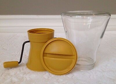 Vintage-RETRO Androck-Washburn Co; COMPLETE Nut-Meat CHOPPER Glass Metal Plastic