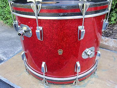 Wfl / Ludwig 14 X 22 Bass Drum Keystone Red Sparkle Vintage Late 1950's