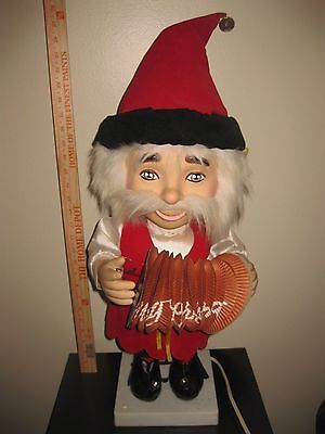 RARE TELCO COUNTRY CHRISTMAS ELF PLAYING ACCORDIAN MUSICAL  Motionette SEE VIDEO