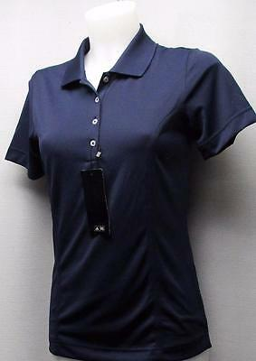 New Ladies Adidas ClimaLite short sleeve polyester golf polo Small Navy