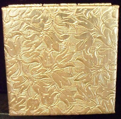 Fancy Vintage Brass Colored Pill Box Floral Motif Case New Old Stock