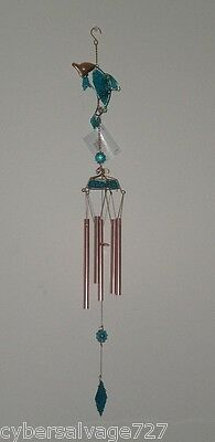 "30"" Dolphin Wind Chime Hand Crafted with Stained Glass & 5 Aluminum Tubes"