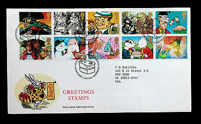 Great Britain Sc# 1479-1488a Royal Mail First Day Cover Greetings Stamps 1993